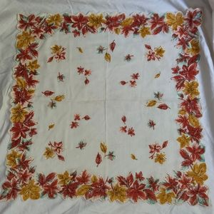 Red & Yellow Leaves Vintag Handkerchief/Neck Scarf
